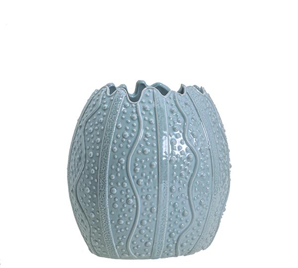 """Κεραμικό Βάζο """"Shell"""" σε γαλάζιο χρ.,24.8cm"""