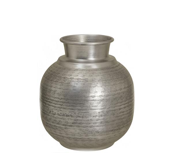 Σφυρήλατο βάζο αλουμινίου, ματ ασημί,29x32cm