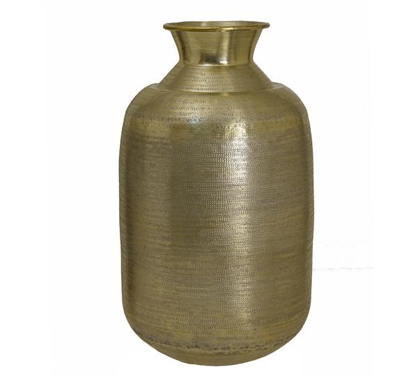Σφυρήλατο βάζο αλουμινίου, χρυσό χρ.,29x53cm