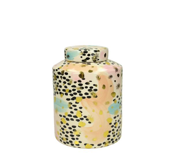 """Κεραμικό διακοσμητικό δοχείο με καπάκι """"Pop Art"""",13x18cm"""