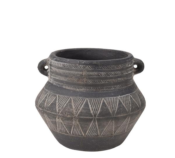 Κεραμικός αμφορέας tribal, παλαιωμένο γκρι, 15cm