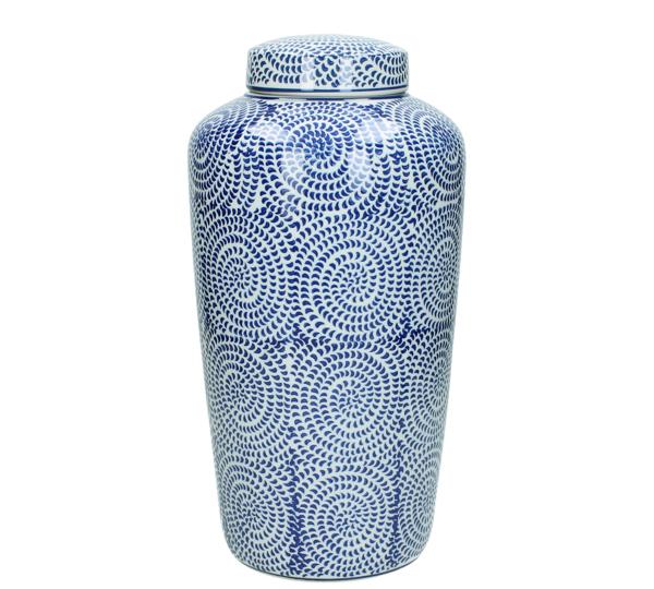 Βάζο με καπάκι, πορσελάνη σχ.spiral,μπλε,20x36cm