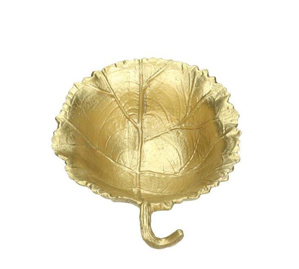 Μπωλ σχ.φύλλο από αλουμίνιο ματ χρυσό, 17x15cm