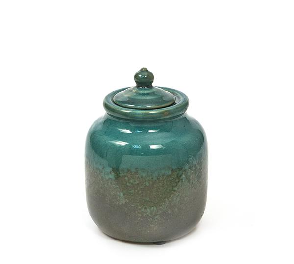 Κεραμικό δοχείο με καπάκι, πετρόλ,17cm
