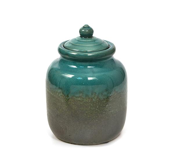 Κεραμικό δοχείο με καπάκι, πετρόλ,21cm