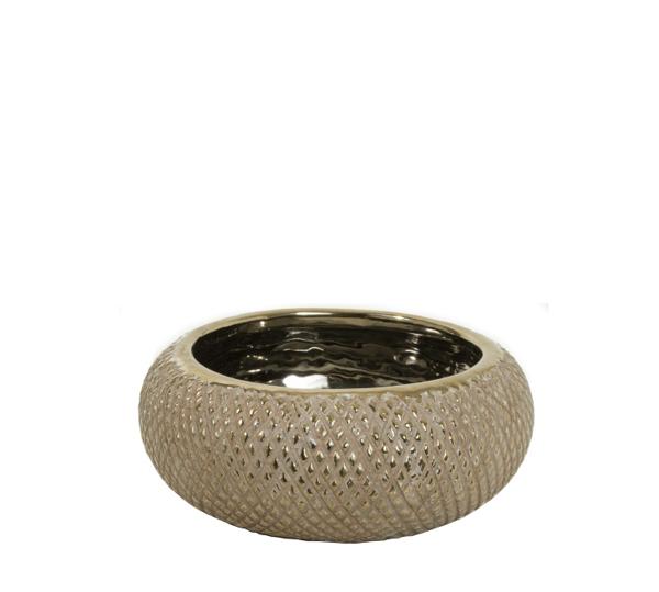 Κεραμικό μπολ, ανάγλυφο σχ.καφέ/χρυσό,18x8cm