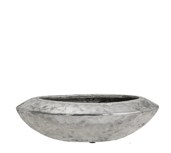 Κεραμικό σφυρήλατο οβάλ μπολ, ασημί, 33x10.5cm