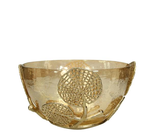Γυάλινο μπολ, μετ/κή διακόσμηση χρυσό δ.27cm