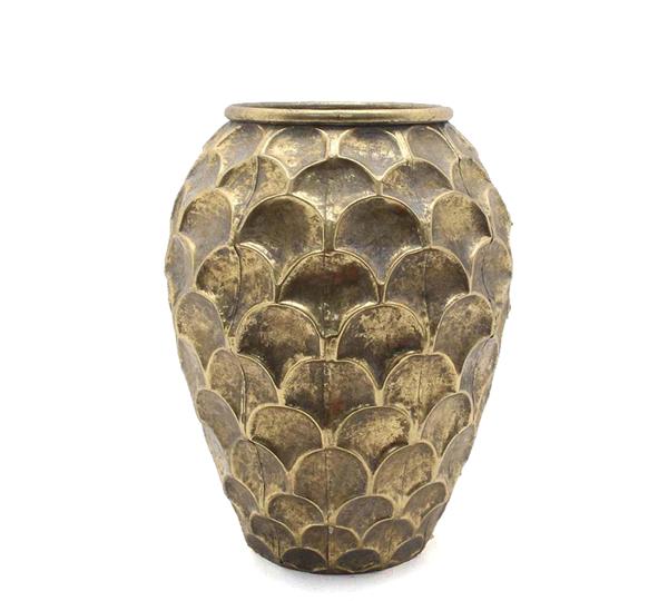 Μεταλλικό σφυρήλατο βάζο, χρυσό, 33,5cm