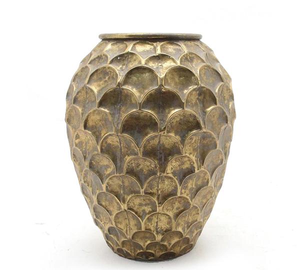 Μεταλλικό σφυρήλατο βάζο, χρυσό, 42,5cm