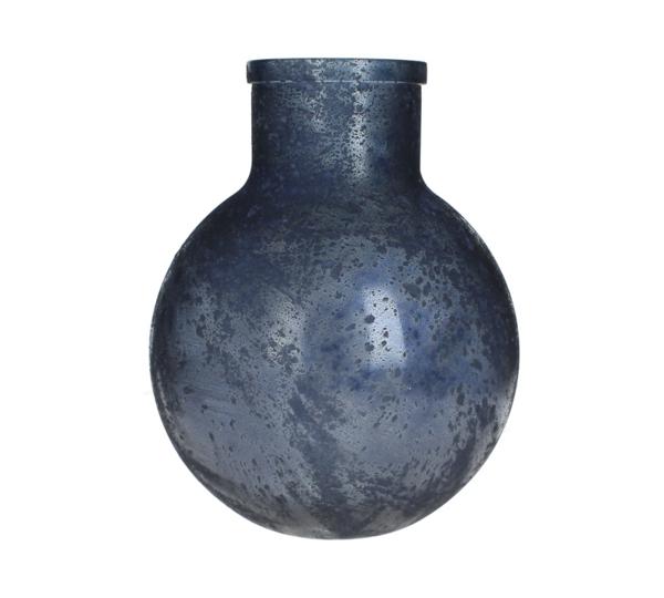 Στρογγυλό Βάζο από ανακυκλωμένο γυαλί σε βαθύ μπλε χρ., 24x29cm