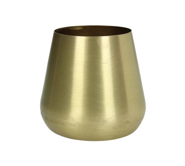 Μικρό μεταλικό βάζο σε ματ χρυσό χρ., 9.5x9cm