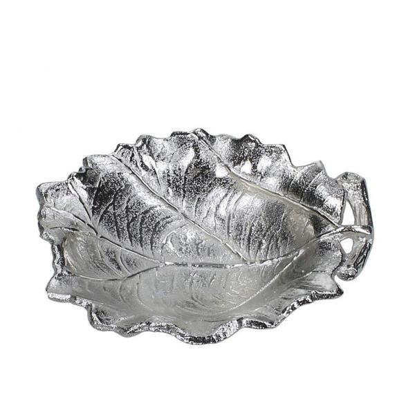 Μπωλ σχ.φύλλο από αλουμίνιο ματ ασημί, 16x13cm