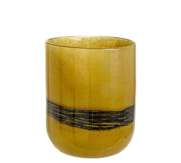 """Γυάλινο χειροποίητο βάζο """"Fusion"""" καφέ & μαύρη ρίγα 23,5cm"""