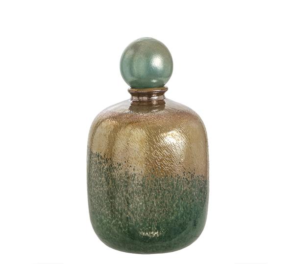 Γυάλινο χειροποίητο βάζο με πώμα σε μελανζέ πράσινο/μελί χρ.35cm