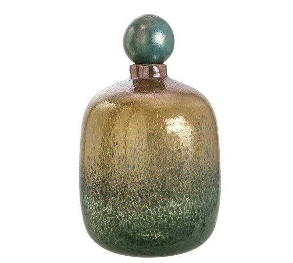 Γυάλινο χειροποίητο βάζο με πώμα σε μελανζέ πράσινο/μελί χρ.40cm