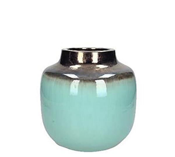 Κεραμικό βάζο βεραμάν & χάλκινο, 22x20cm