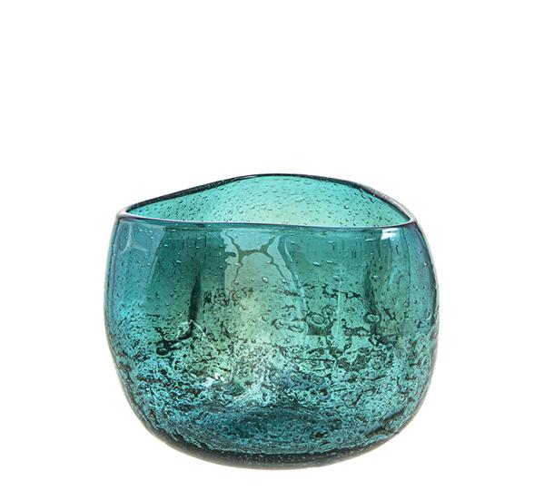 Γυάλινο χειροποίητο μπολ πετρόλ με ειδική υάλωση,27x18cm