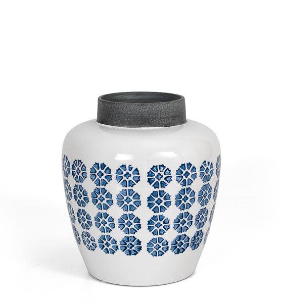 Κεραμικό βάζο με ρετρό γαλάζιο μοτίφ 22,5cm