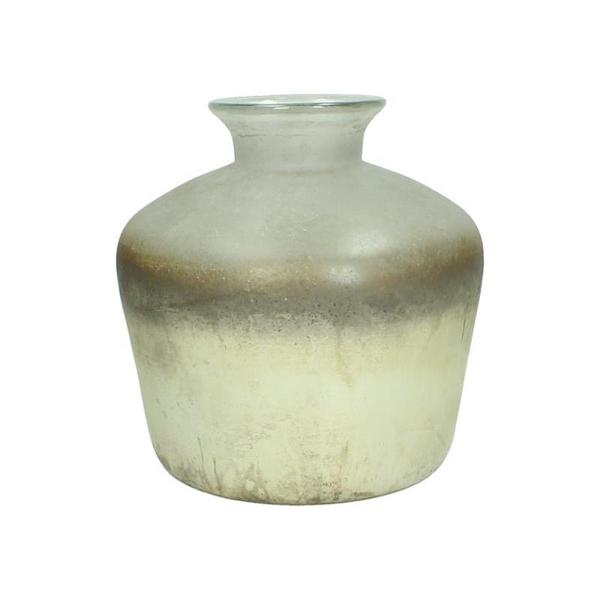 Γυάλινο βάζο με ειδική επεξεργασία σε κρεμ/χρυσό 16,5cm