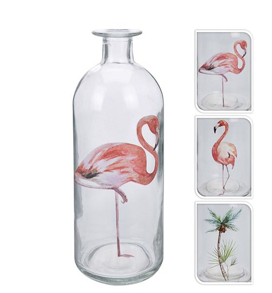 Βάζο με σχέδιο flamingo & φoίνικα 9x27cm