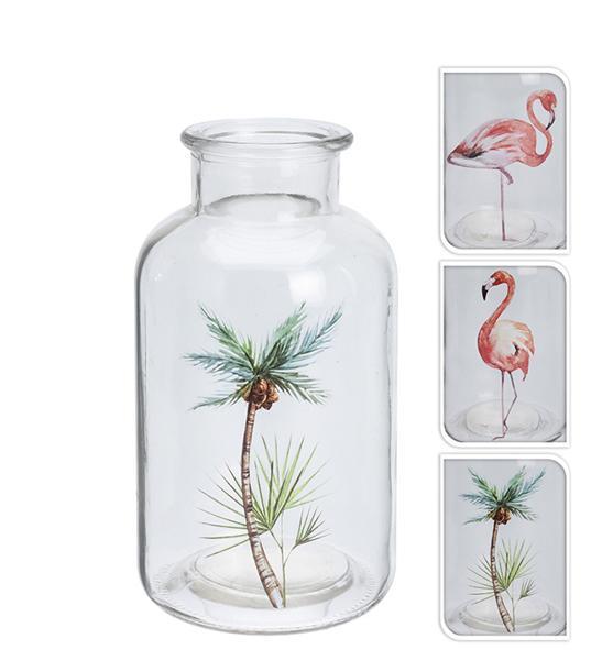 Βάζο με σχέδιο flamingo & φoίνικα 10x19cm