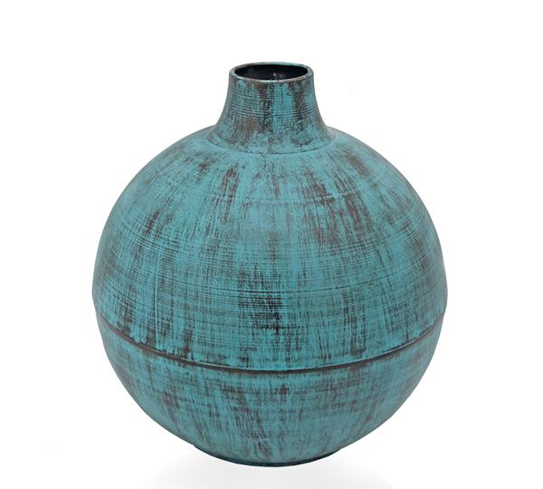 Μεταλλικό βάζο παλαιωμένο φινίρισμα μπλε, δ.30cm