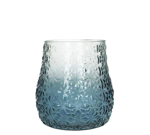 Γυάλινο Βάζο/Φανάρι διαφανο/μπλε, 18cm