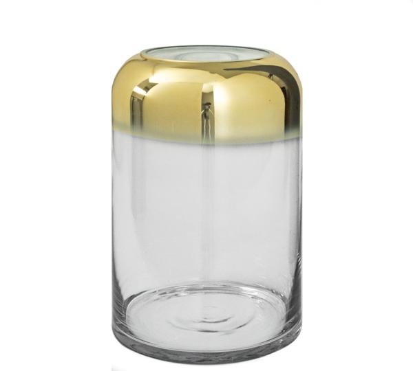 Γυάλινο βάζο κύλινδρος με ντεγκραντέ χρυσή επίστρωση, 27cm