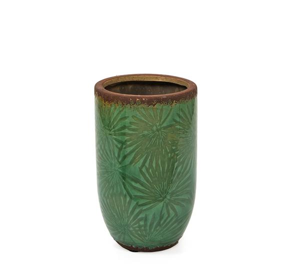 Κεραμικό βάζο, σχ.φύλλα φοίνικα, σκ.πράσινο,20cm