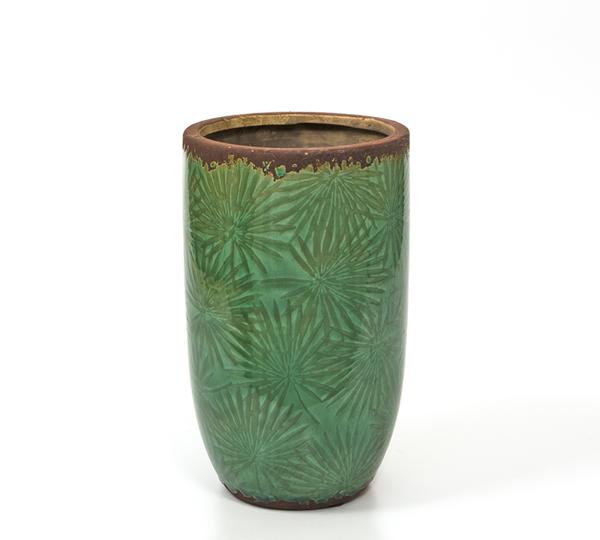 Κεραμικό βάζο, σχ.φύλλα φοίνικα, σκ.πράσινο,25,5cm