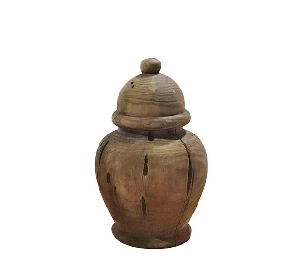 Ξύλινο διακοσμητικό βάζο με καπάκι, 21,5cm