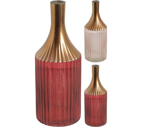 Γυάλινο βάζο με χρυσό λαιμό 2χρ.(ροζ,μπορντώ), 35cm