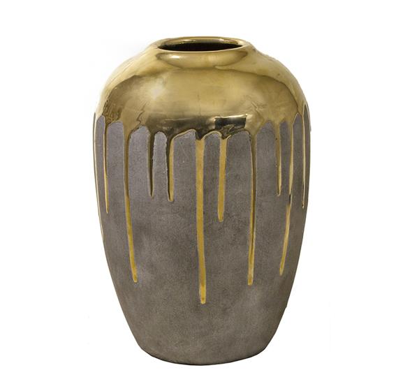 Κεραμικό βάζο επίχρυσο με υφή τσιμεντοκονίας, 19x27cm