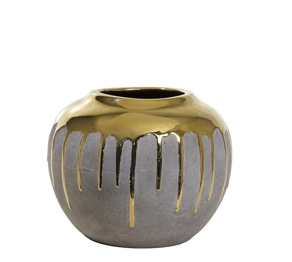 Κεραμικό βάζο επίχρυσο με υφή τσιμεντοκονίας, 19x15cm