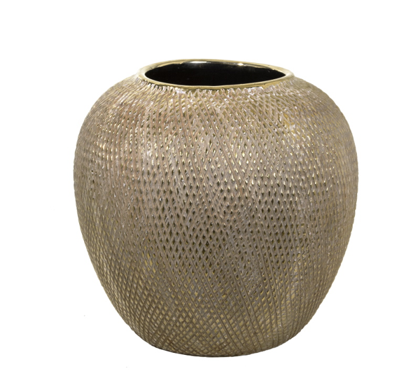 Κεραμικό βάζο ανάγλυφο σχ.καφέ/χρυσό, 29.5x27.5cm