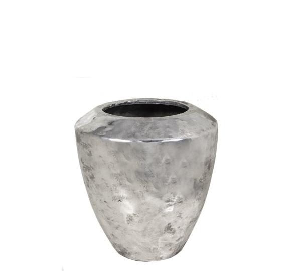 Κεραμικό σφυρήλατο βάζο, ασημί, 22cm