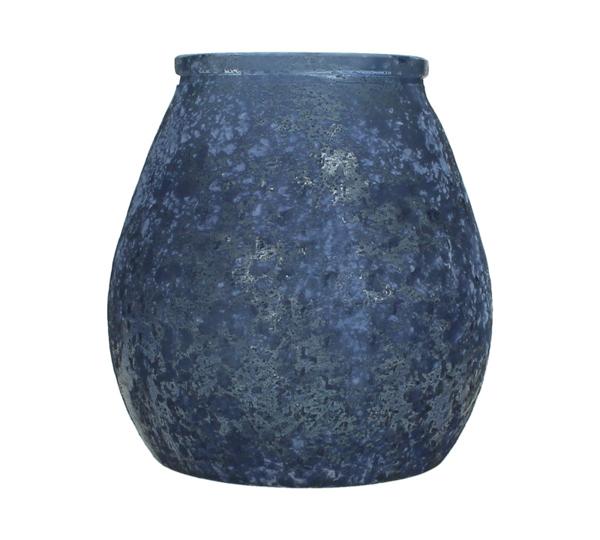 Βάζο/Φανάρι από ανακυκλωμένο γυαλί σε βαθύ μπλε χρ., 18x19cm