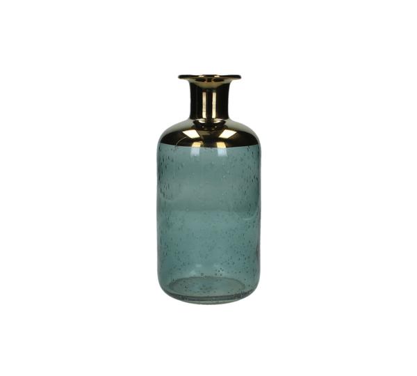 Γυάλινο βάζο σχ.φιάλη πετρόλ/χρυσό, 20.5cm