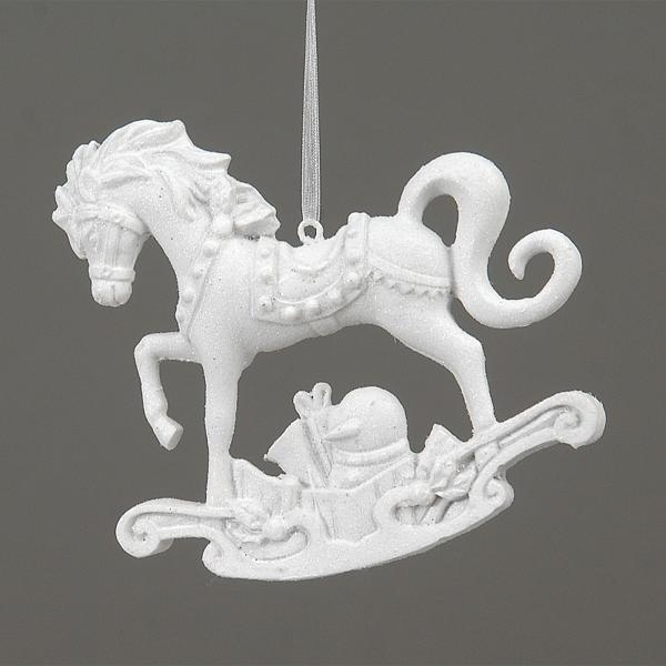 8/96-11cm white rocking Horse hanging orn