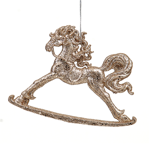 12/216-15cm plastic gold rocking horse ornament