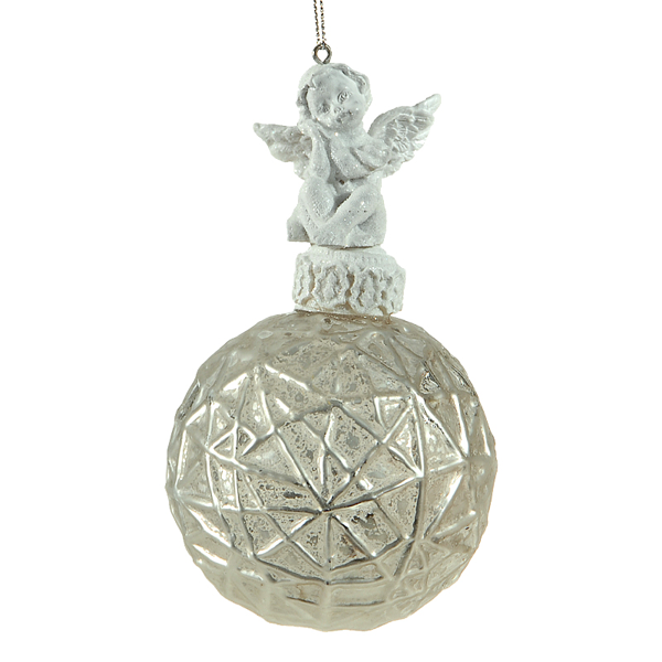 8cm glass white ball w/angel