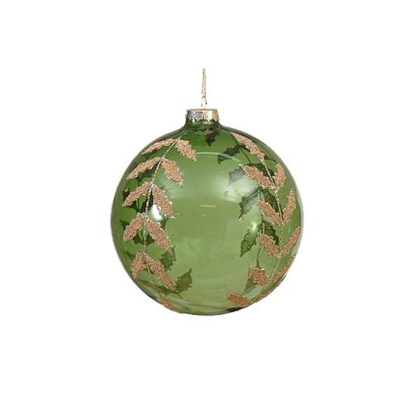 12/96 8cm clear green ball w/ gold leaves design