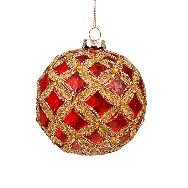 6/48 10cm glass clear red ball w/ gold flower design