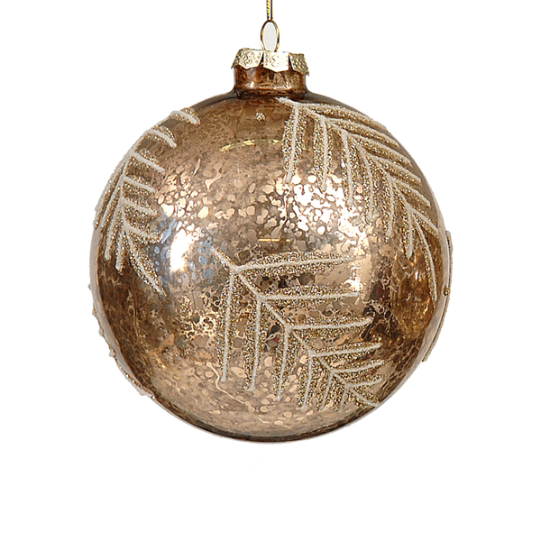 12/96 8cm gold antique ball w/ glitter tree design