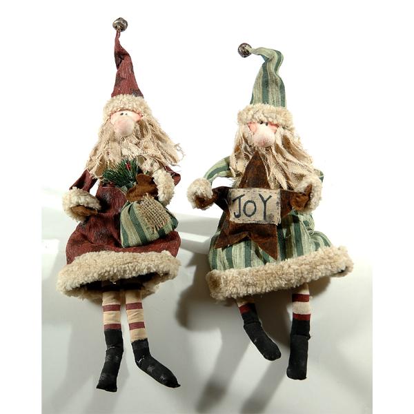2 Asst sitting Santa 40cm