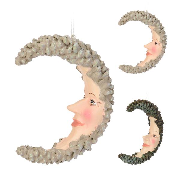 2Asst Hanging deco moonhead 13cm