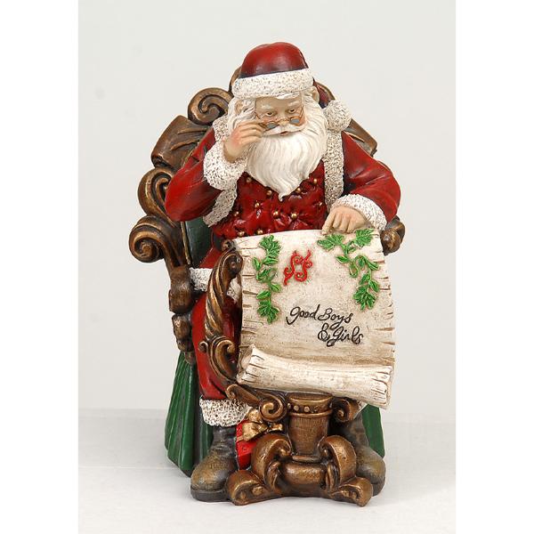 2/4-23cm Resin Santa w/map