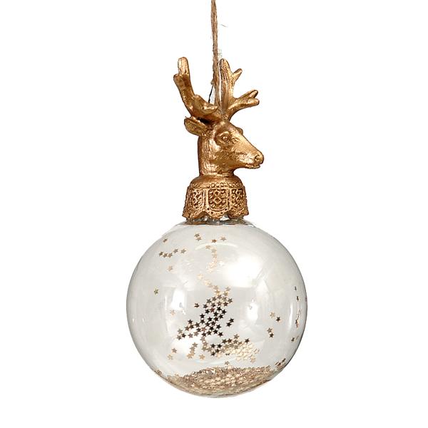 16/64-8cm Glass Ball w/polyserin Gold Deer Head