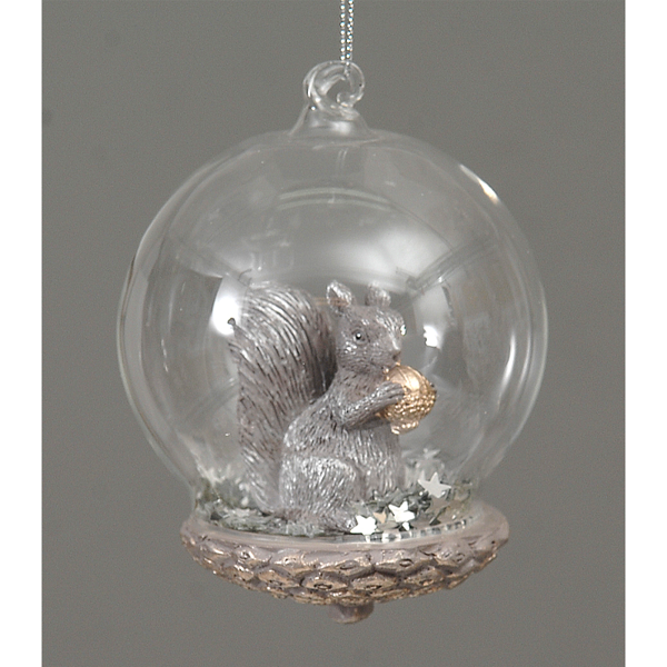 12/72-10,5cm Glass Ball w/polyserin Brown Squirrel